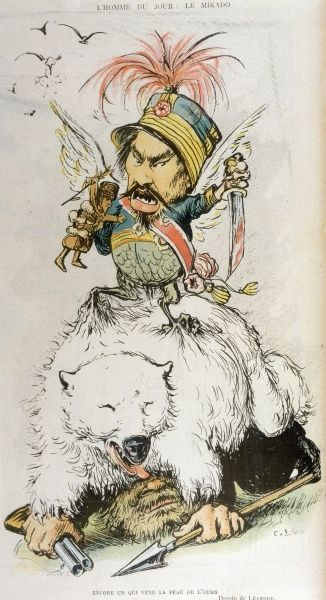 MUTSUHITO also known as MEIJI Emperor of Japan (1867-1912): a satirical comment on the relationship between Japan and Russia