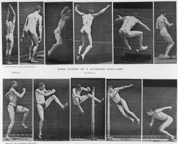 Two sequences of an athlete high-jumping