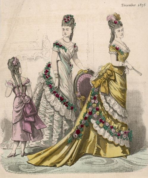 Evening dresses ornamented with roses & lace, short sleeves, long waists (one ending in a point), double skirts trained & tied back, over-skirts with apron fronts