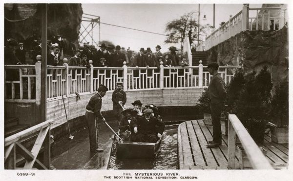 People boating on the Mysterious River at the Scottish National Exhibition, Glasgow. Date: 1911