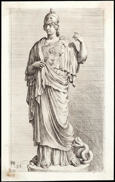 Patron goddess of Athens also identified with Minerva, the Italian goddess of crafts