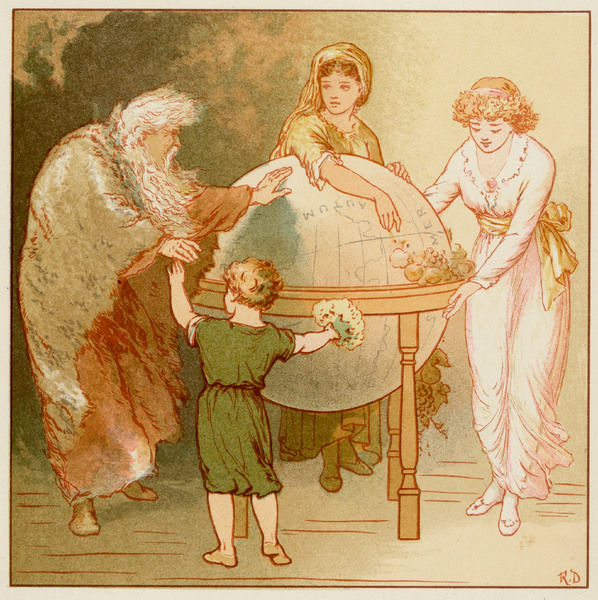 Allegorical illustration of Father Time with a child and two young women Date: 1887