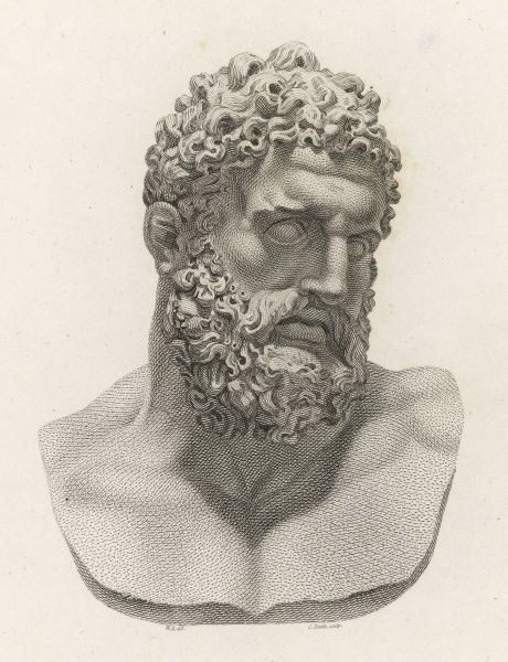 A colossal head of Hercules, and a very fine example of Greek sculpture. This was probably a copy of a famous statue by Glycon found in the Baths of Caracalla