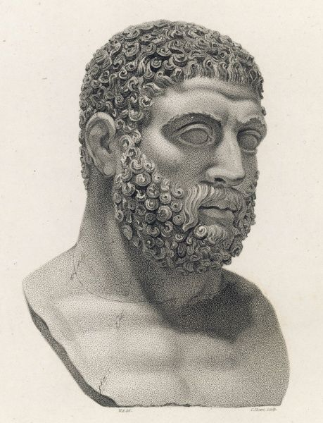 A colossal bust of Hercules. This head was found by Mr G.Hamilton in 1769, at the Patanella in Hadrian's villa, and is an example of the early 'flat' style of sculpture