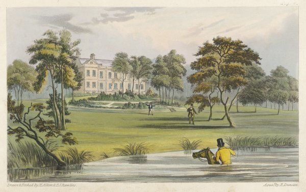 The seat of John Mytton (1796- 1834), the eccentric English squire of Halston, Shropshire. The view is from the back showing a circular garden and extensive parkland. Date: 1820s