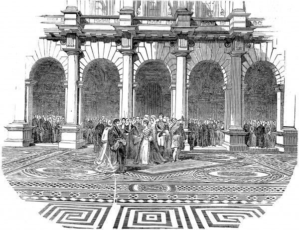 Engraving showing Queen Victoria undertaking the ceremony of naming and proclaiming 'The Royal Exchange' at its official opening in 1844