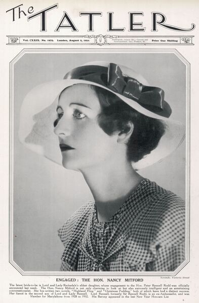 Photograph of Nancy Freeman-Mitford on the front cover of The Tatler at the time of the anouncement of her engagement to Peter Rennell Rodd