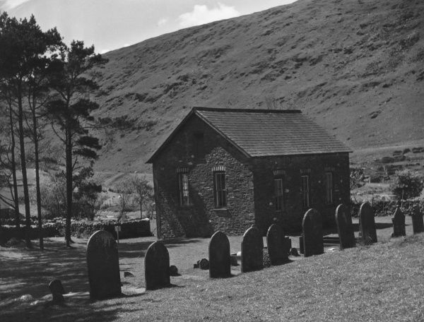 Nantymoch Chapel, in the Upper Rheidol Valley, Cardiganshire Wales. Sadly submerged when the Rheidol Hydro-Electric Scheme was completed in 1964. Date: 19th century