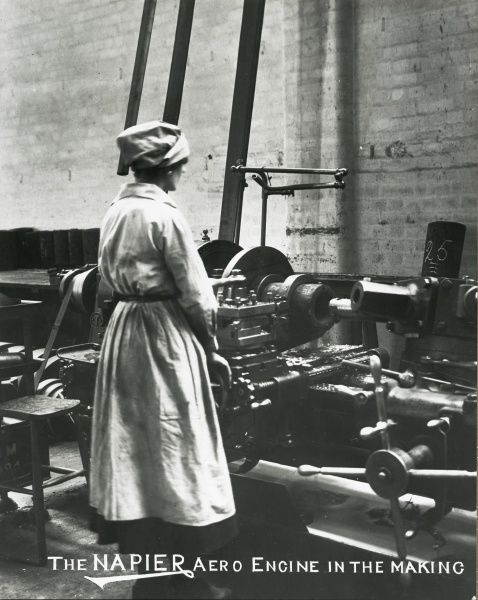 The Napier aero engine in the making woman in foreground boring Lion cylinder Date
