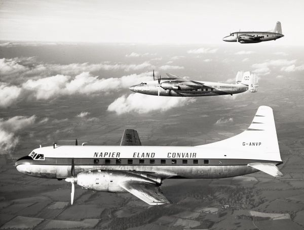 In flight l to r Napier Eland Convair G ANVP 340 conversion, Elizabethan G ALFR and the Varsity Date