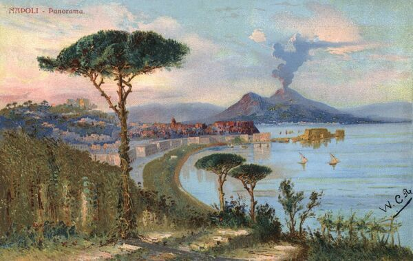 Naples, Italy - View toward the city and Mount Vesuvius Date: 1904