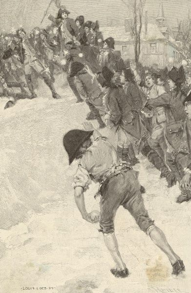 NAPOLEON, circa 1780, attacking snow forts at the military school at Brienne