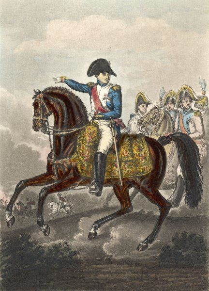 NAPOLEON I riding at the head of his staff