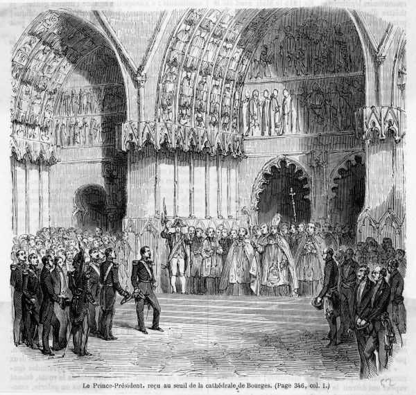Napoleon visits Bourges, where he is welcomed by clergy on the steps of the cathedral