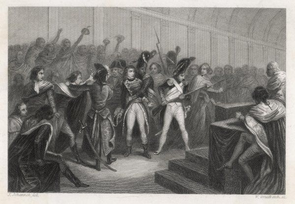 THE 19TH BRUMAIRE With fellow consuls Sieyes and Ducos, Bonaparte stages his coup d'etat at Saint-Cloud, dissolving the Conseil du 500 overthrowing the Directoire