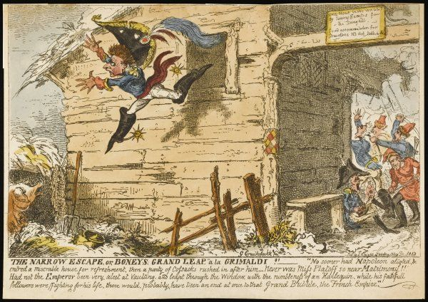 'The Narrow Escape' - an apocryphal story claims that Napoleon, during his Russian campaign, escaped from some Cossacks by jumping from a window into a pigsty