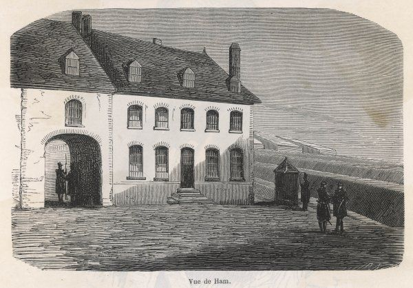 After his failed coup d'etat at Boulogne, Napoleon is imprisoned in this house at Ham