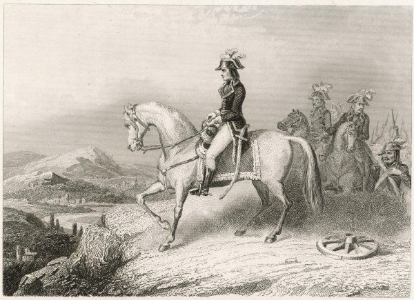 NAPOLEON I on his horse, during the crossing of the St Bernard pass from France to Italy, in 1796