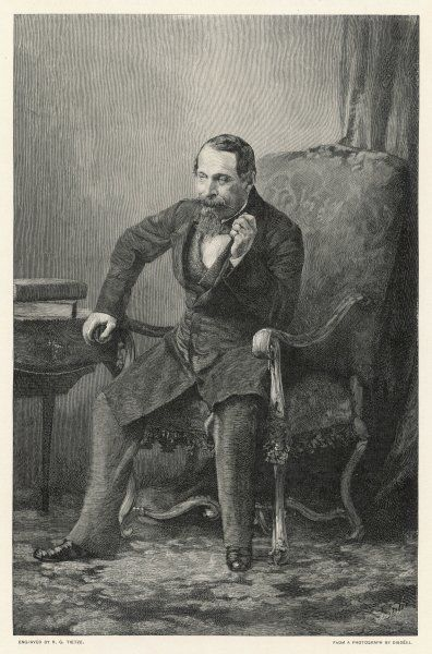 LOUIS NAPOLEON III Emperor of the French, sitting, smoking a pipe