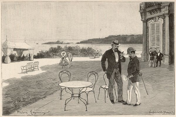 Napoleon III and Bismarch chat amiably on the terrace of the royal Villa Eugenie at Biarritz : five years later, Bismarck's realpolitik will destroy the French empire
