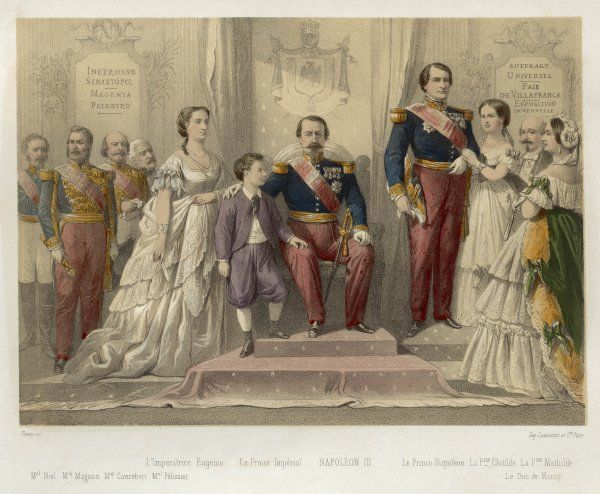 LOUIS NAPOLEON III with Eugenie and le Prince Imperial, and Prince Napoleon and other members of his family, courtiers &c