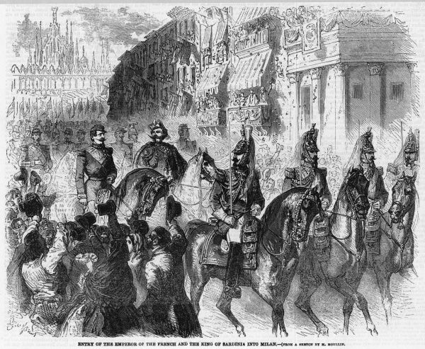 Napoleon III, pursuing French interests in Italian affairs, accompanies Vittorio Emanuele in a procession through the streets of newly liberated Milano