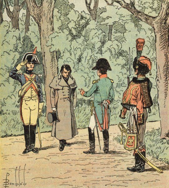 He interrogates an agent sent by Metternich from Austria to negotiate secretly with Fouche, in the gardens of the Elysee palace