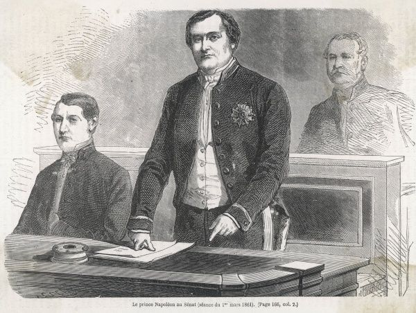 Prince NAPOLEON JOSEPH- CHARLES-PAUL BONAPARTE Son of Napoleon's youngest brother Jerome ; claimant to French throne : speaking in the Senate, 1 March 1861