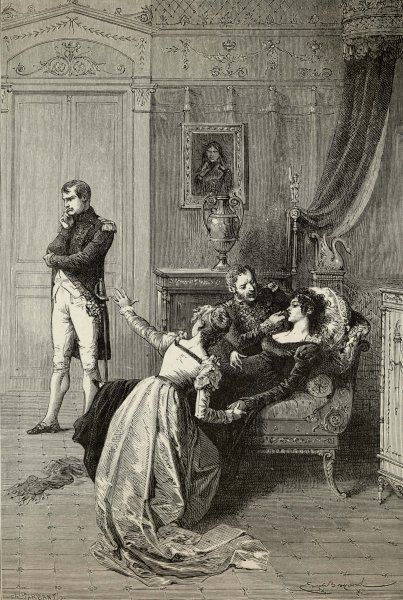 Napoleon tells Josephine he is going to divorce her for dynastic reasons : he wants a son, so it's a case of 'Not tonight, Josephine, nor any other night !' She faints