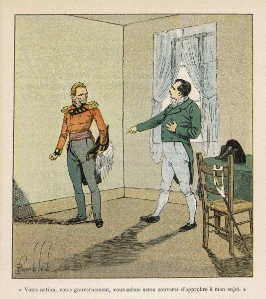 Napoleon reproaches the governor of Saint Helena, Hudson Lowe, for his harsh treatment