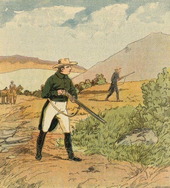 The exiled Napoleon goes partridge-shooting on Saint Helena