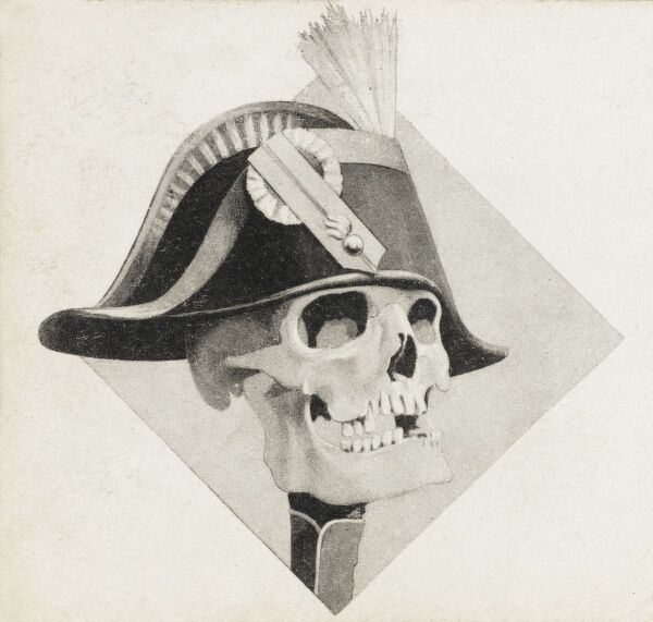 Satirical French postcard from 1903 depicting Napoleon's laughing skull. Sadly, the exact meaning of this rather grim image is not shared