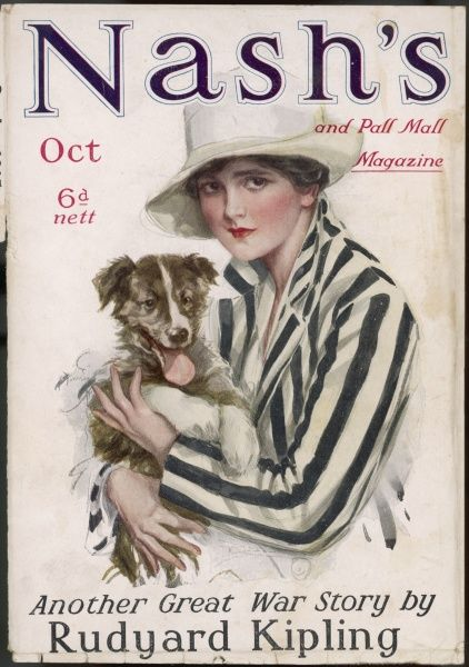 A girl in a smart striped jacket and trilby style hat poses with her collie puppy for Nash's magazine - World War One period