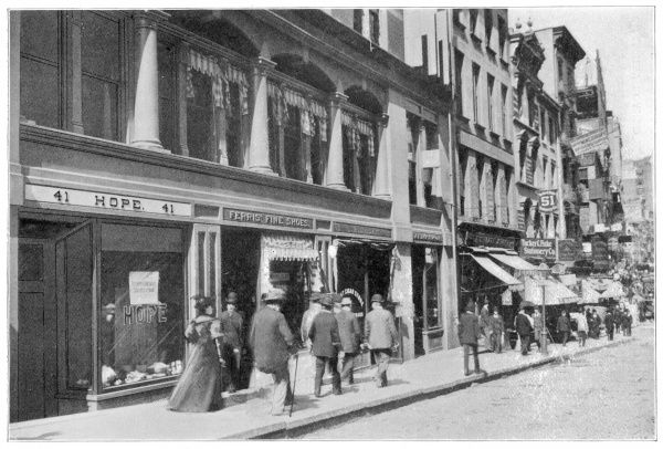 People in Nassau Street, New York, showing Hope's confectionery establishment