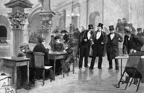 Three gentlemen are offered a freshly wiped table by a waiter in the gallery of the 'National', Copenhagen. Date: 1884