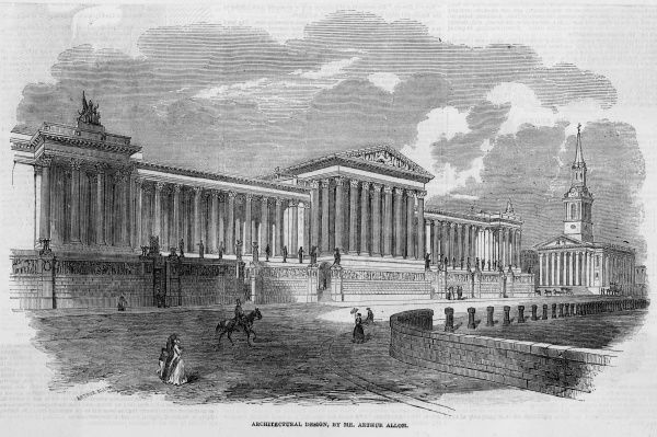 Arthur Allom's proposed design for the National Gallery in Trafalgar Square