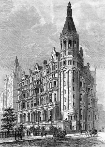 Engraving showing the exterior of the National Liberal Club in Whitehall Place, London, 1885. This building was designed by the architect, Alfred Waterhouse. Date: 1 August 1885