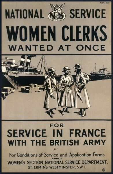 Poster recruiting women to work as clerks and administrative support to the British Army in France during World War One