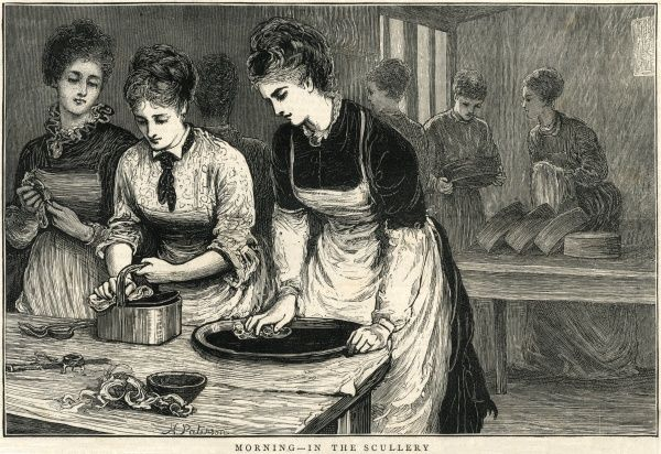 Morning session in the scullery at the National Training School of Cookery, South Kensington, London. Students in aprons are engaged in cleaning and polishing. Date: 1874