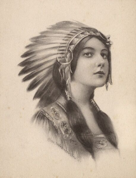 Highly romanticised depiction of a Native American Woman Date: 1911