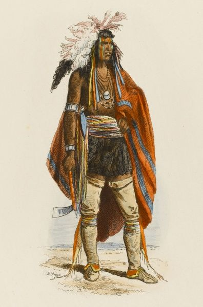 The Native American as 'noble savage' as depicted in a French costume book