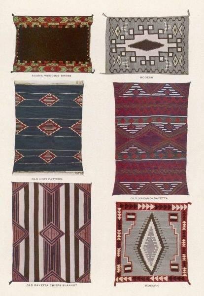 Six blankets made by Navaho weavers using traditional techniques, from the collection in the Indian Building in Albuquerque, New Mexico