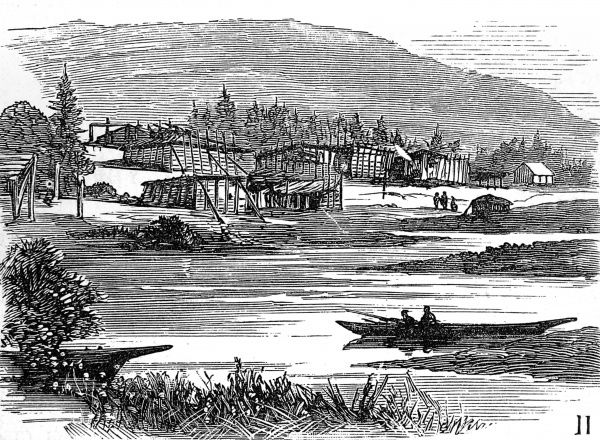 Illustration showing the collection of wooden native American Indian dwellings of a village on the East coast of British Columbia, 1882. In the foreground is one of their canoes