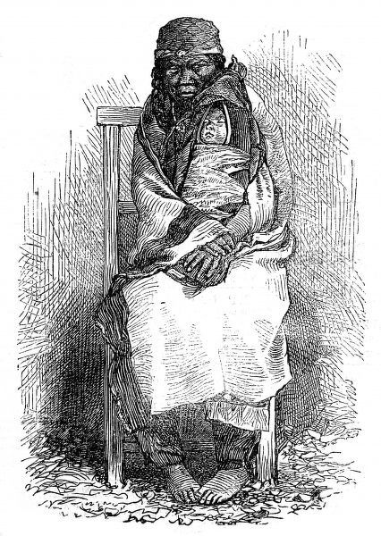 Portrait of a barefoot native American Indian woman, of Vancouver Island, and her baby in a papoose, 1863