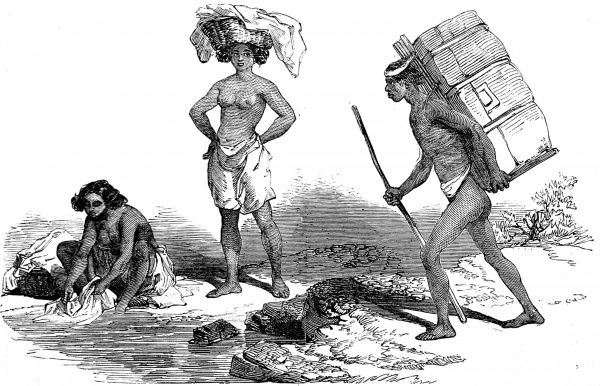 Engraving showing some of the native Americans of California, 1851. Two native american women, one washing clothes in the stream, the other carrying a basket on her head and a young native american man carrying luggage can be seen