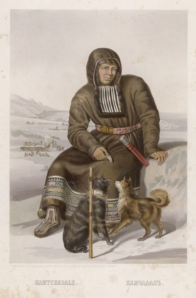 A native of Kamchatka, in north-eastern Russia : he holds a fish, of which his dogs are very well aware