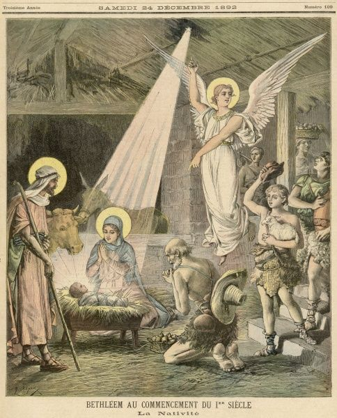 The Angel of the Lord invites the shepherds to see the baby Jesus
