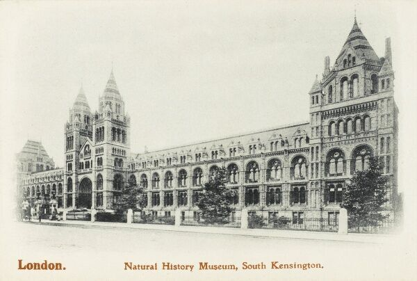 The impressive front of the Natural History Museum on Exhibition Road in South Kensington, London. Designed by Alfred Waterhouse - built and opened in 1888
