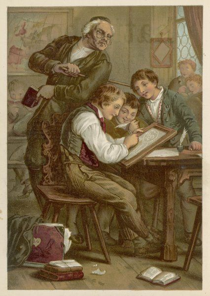 'Caught in the Act' A schoolboy makes fun of teacher by drawing a caricature on his slate while encouraged by his friends, but he is caught