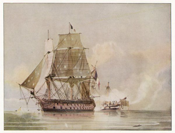 NAVAL ACTION OFF CANDIA Engagement between the British warship 'Leander' and the French 'Le Genereux&#39